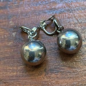 Vintage Silver Tone Clip-On Ball Earrings